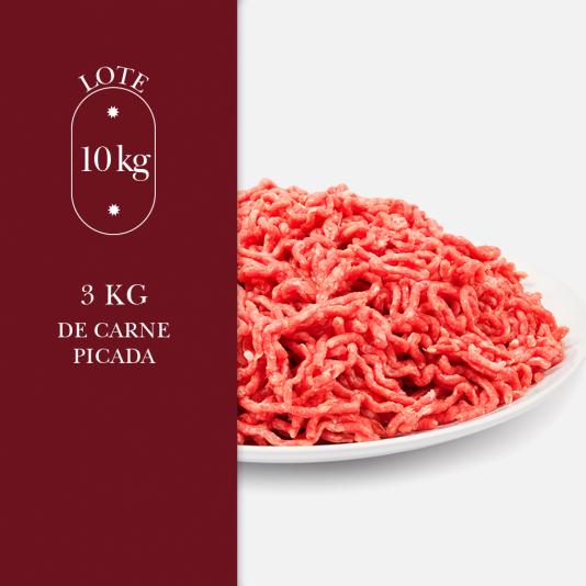 3kg de carne picada perteneciente al lote de 10kg