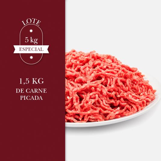 1,5 kg de carne picada perteneciente al lote de 5kg especial