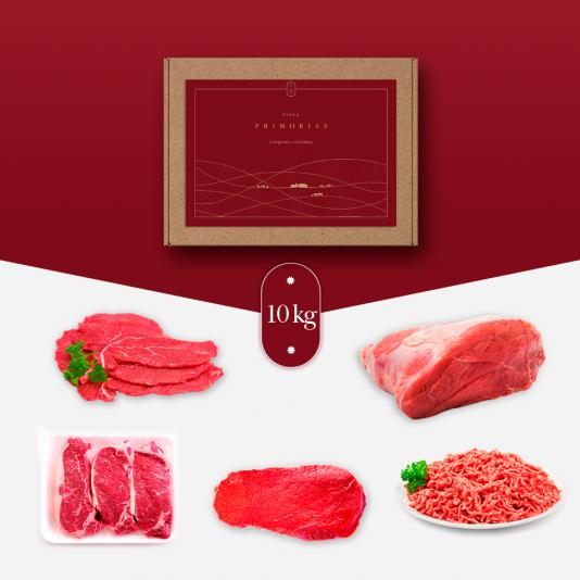 nuestro lote de 10 kg de carne de ternera de Cantabria, compuesto por filetes, solomillo, carne picada y carne para guisar