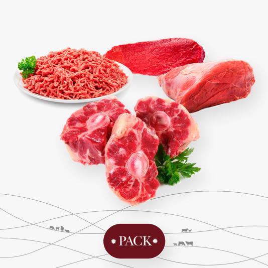 pack de rabo de toro que incluye carne picada, carne para guisar y filete extra.