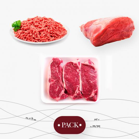 Nuestro pack de entrecot acompañado de carne para guisar y carne picada.